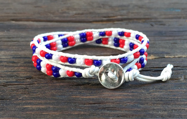 SALE! Patriotic Red, White & Blue Stacked Seed Bead & Leather Double Wrap Bracelet