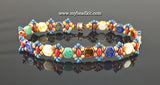 Honeycomb Beaded Bracelet Kit with 2-Hole Glass Beads (Picasso Color Mix)