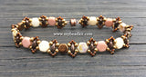 Honeycomb Beaded Bracelet Kit with 2-Hole Glass Beads (Brown & Mauve)