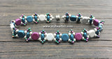 Honeycomb Beaded Bracelet Kit with 2-Hole Glass Beads (Purple, Silver & Teal)