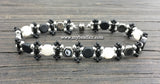 New! Honeycomb Beaded Bracelet Kit with 2-Hole Glass Beads (Black, White & Silver)