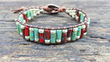 Earthy Glass Tube & Seed Bead Wrap Bracelet Kit (Red & Turquoise Color Mix)