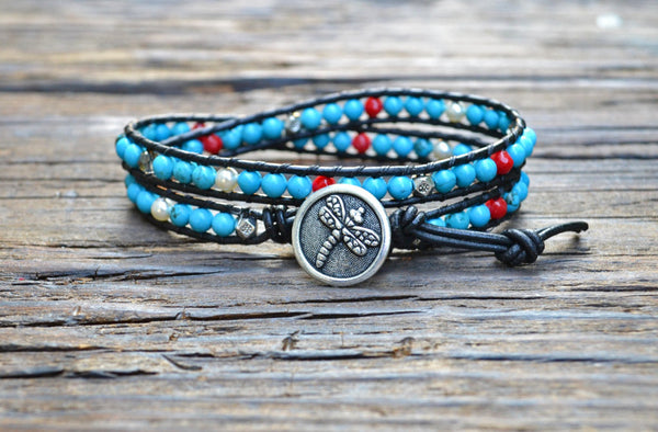 SOLD OUT! Sale! Turquoise Leather Wrap Bracelet Kit (Double wrap)