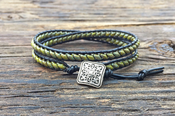 SALE! Leather Wrap Bracelet Kit - Double Wrap - Superduo 2-hole Glass Beads - Ladder Stitch - Green