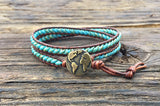 Leather Wrap Bracelet Kit - Double Wrap - Superduo 2-hole Glass Beads - Ladder Stitch - Turquoise