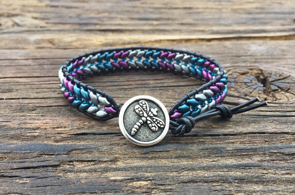Chevron Pattern Leather Wrap Bracelet Kit - Superduo 2-hole Glass Beads - Seed Beads  - Ladder Stitch - Purple Teal Silver Color Mix