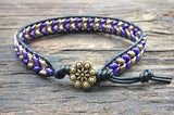 Chevron Pattern Leather Wrap Bracelet Kit - Superduo 2-hole Glass Beads - Ladder Stitch - Purple & Gold Color Mix
