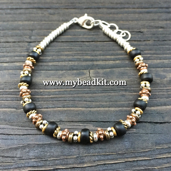 New! Bali-Style Bracelet Kit - Bead Stringing 101: Black