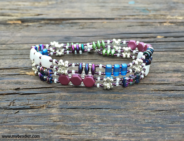 SOLD OUT! Mix It Up! Beaded Bracelet Kit with 2-Hole Glass Beads (Purple/Blue/Green/White)