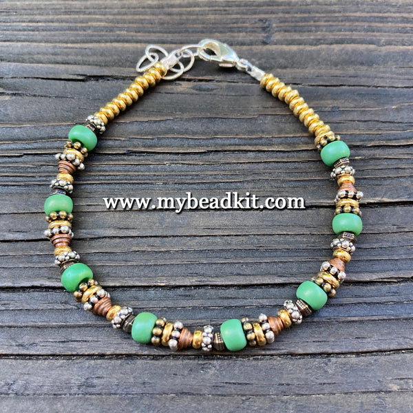 Bali-Style Bracelet Kit - Bead Stringing 101: Green