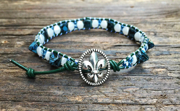 Pyramid Bead Wrap Bracelet Kit (Jet Picasso Pyramid with Teal & Green accents)