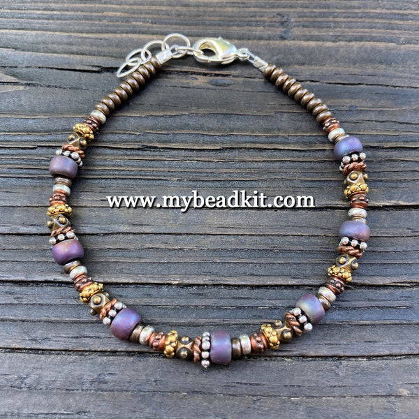New! Bali-Style Bracelet Kit - Bead Stringing 101: Purple