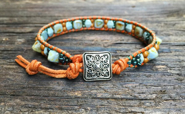 Pyramid Bead Wrap Bracelet Kit (Picasso Pyramid with Rust & Green accents)