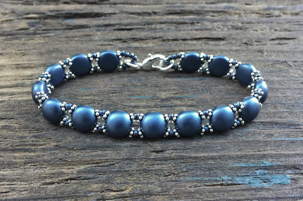 Sweet Candy! NEW! Beaded Bracelet Kit with 2-Hole Glass Beads (Antique Blue)
