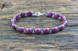 Sweet Candy! Beaded Bracelet Kit with 2-Hole Glass Beads (Bordeaux Purple)