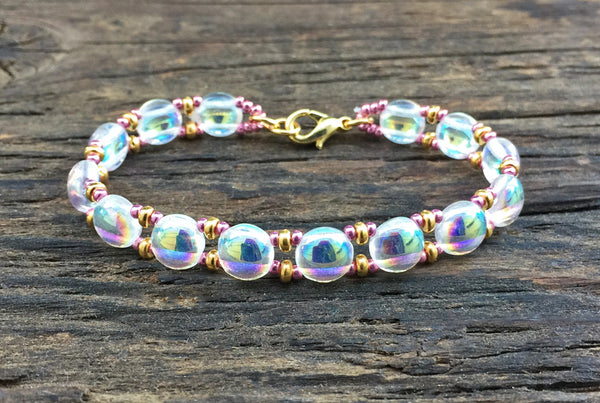 Sweet Candy! NEW! Beaded Bracelet Kit with 2-Hole Glass Beads (Crystal Shine)