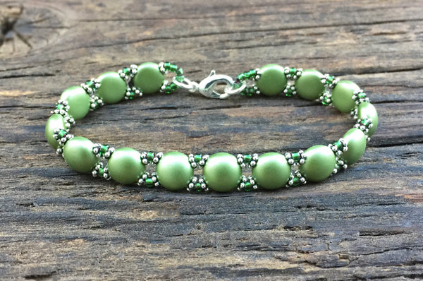 Sweet Candy! NEW! Beaded Bracelet Kit with 2-Hole Glass Beads (Light Olive Green)