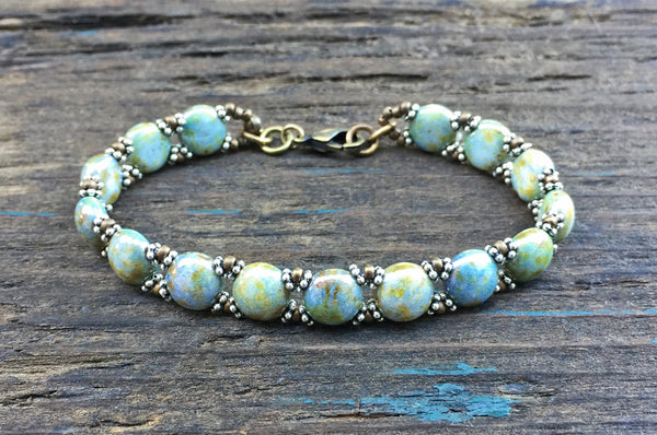 Sweet Candy! NEW! Beaded Bracelet Kit with 2-Hole Glass Beads (Terra Blue)