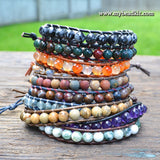 New! Bloodstone Leather Wrap Bracelet Kit (6mm Semi-precious Stone)