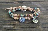 Boho Bracelet Kit - Leather, Seed Bead, and Charm Double Wrap
