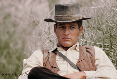 Paul Newman on the set of Hombre.  [1966]
