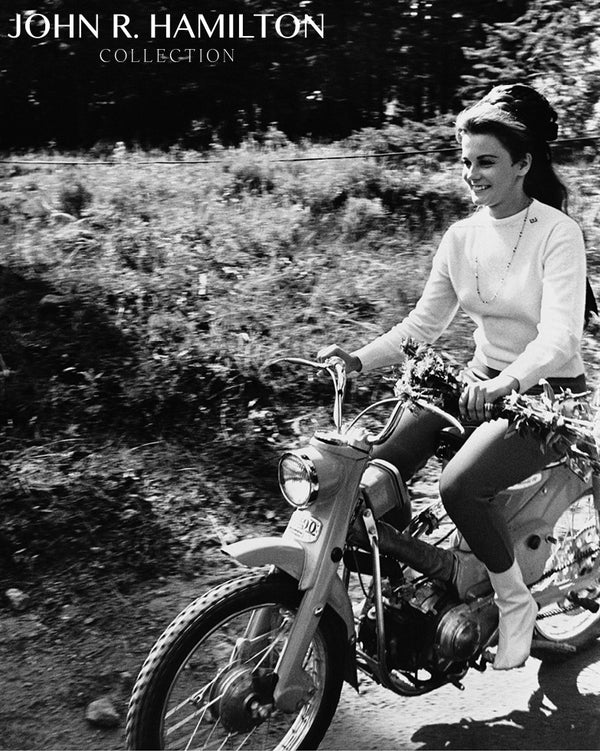Ann-Margret on motorbike, 1966