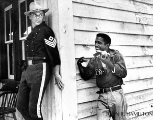 "Frank Sinatra and Sammy Davis Jr during the filming of ""Sergeants 3"" outside of Las Vegas, NV.  [1961]"