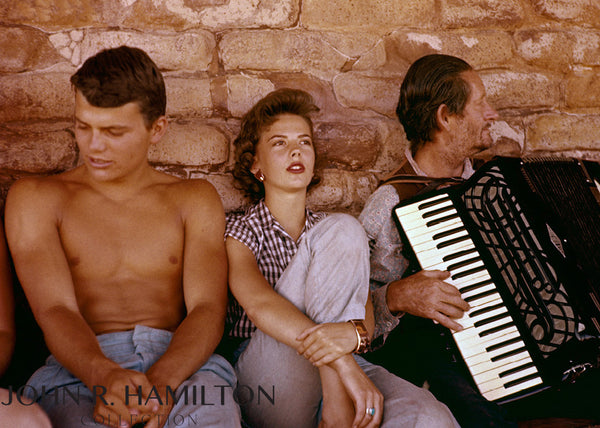 "Natalie Wood and Patrick Wayne accordion break during ""The Searchers,"" 1955"