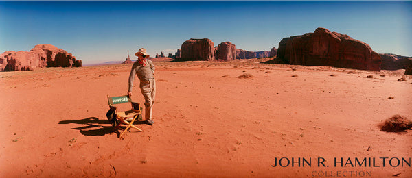 "John Ford, during filming of ""Cheyenne Autumn.""  Monument Valley, Arizona.  [1964]."