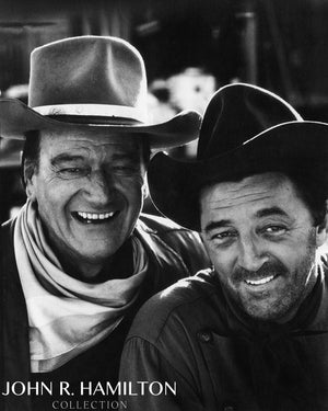 "John Wayne and Robert Mitchum, during the filming of ""El Dorado.""  Tucson, Arizona.  [1967]"