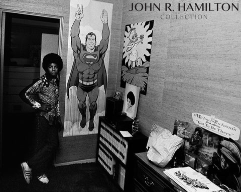 Michael Jackson in his room with Superman poster, Encino, California, 1974
