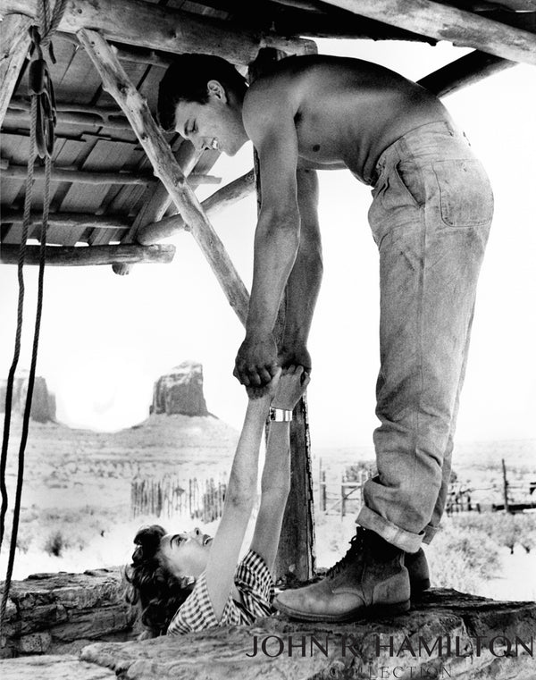 "Patrick Wayne and Natalie Wood in the well on the set of ""The Searchers"" in Monument Vally, AZ/UT 1955"