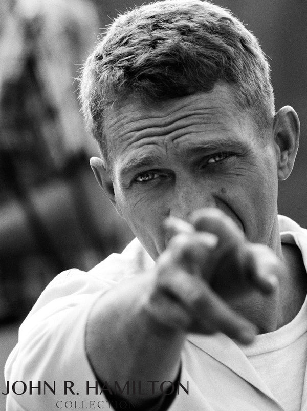 Steve McQueen pointing, 1966
