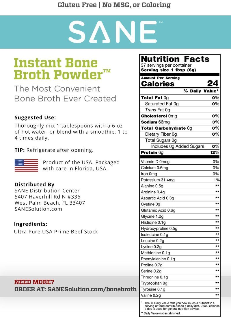 SANE Instant USA Prime Bone Broth Powder (37 Servings)