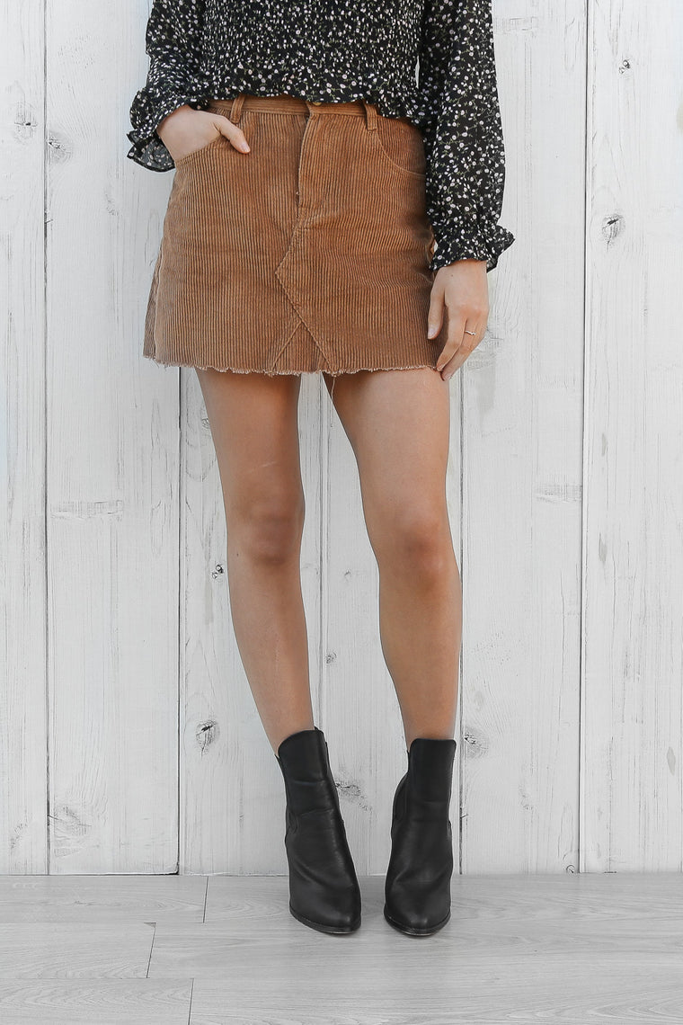 brina cord mini skirt in tan