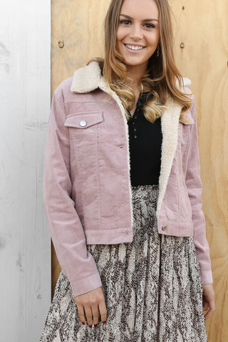 maisy cord jacket in blush