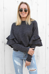 sweetness frill jumper in charcoal