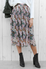 cascade midi skirt in floral
