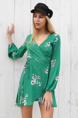 lover wrap dress in green floral