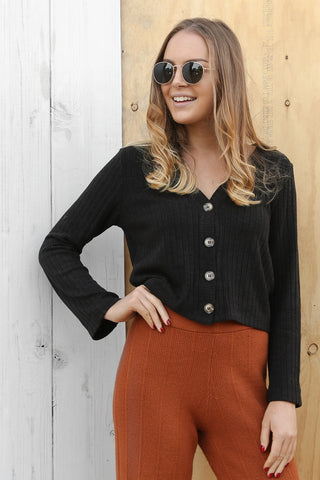 trilogy cardi/top in black