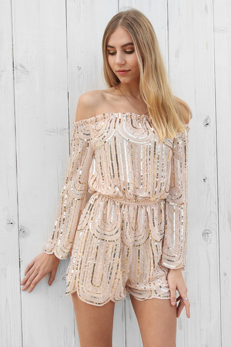 galaxy sequin playsuit in gold