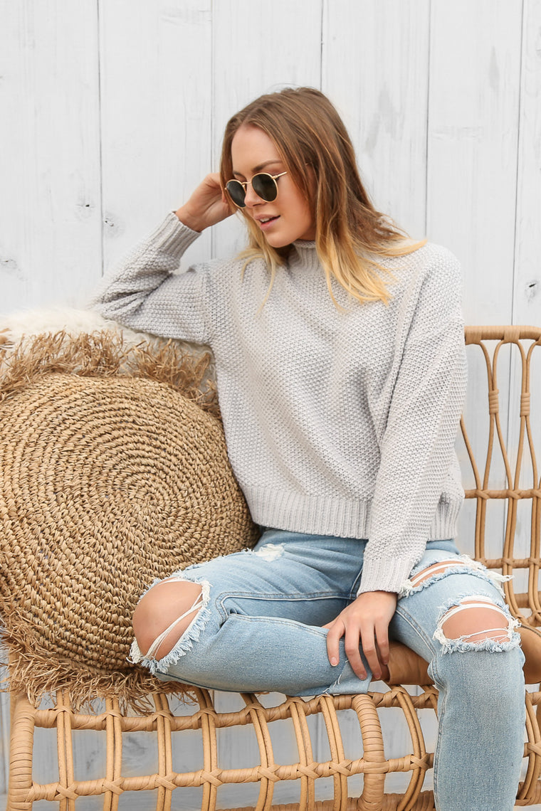 eliza knit jumper in grey