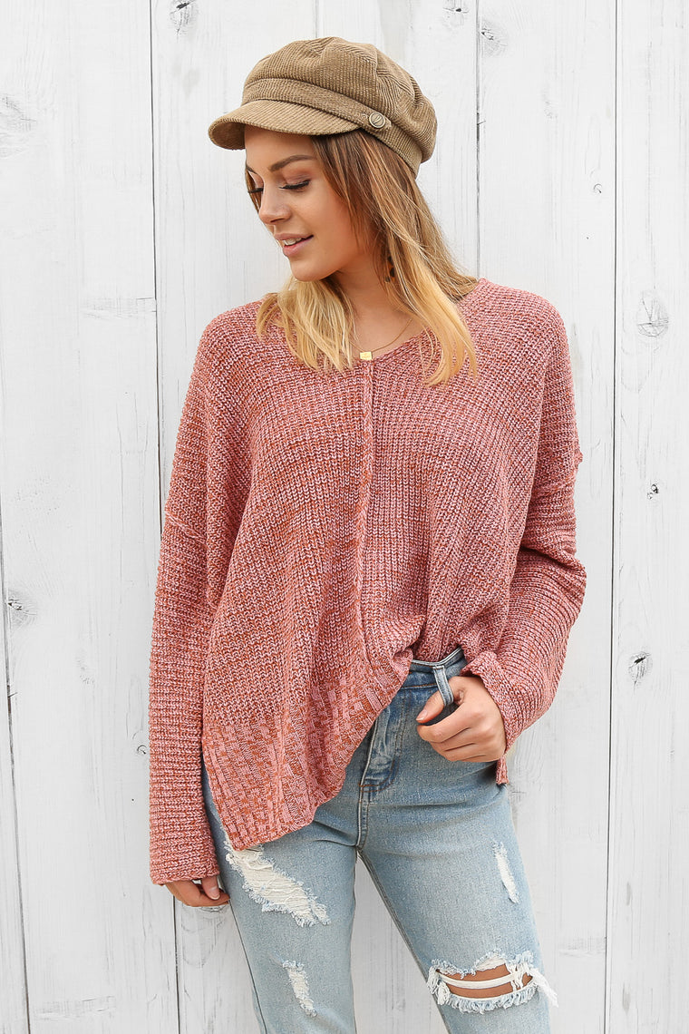 chrissie knit jumper in pink