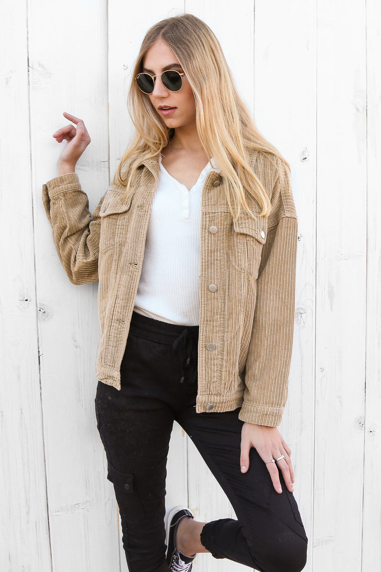 mollie cord jacket in sand