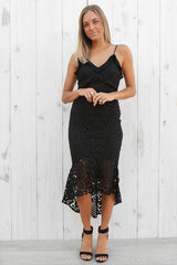 mermaid lace dress in black