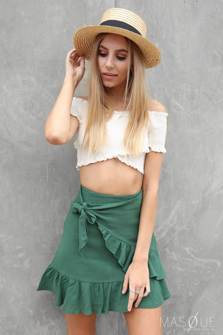tully wrap skirt in green