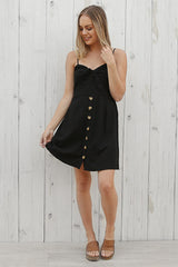 picnic linen dress in black
