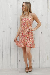 sunset wrap dress in leopard