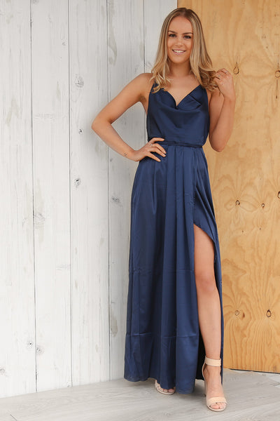 eddie silky maxi dress in navy