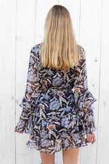 luella dress in navy floral